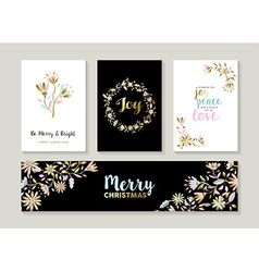 Gold christmas set of floral designs vector