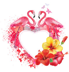 greeting card with flamingoes and flowers vector image