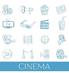 Hand drawn cinema icon set vector image