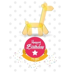 Happy birthday card giraffe ballon shape confetti vector