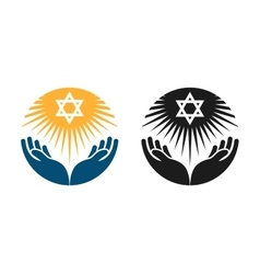 Judaism logo star of david or religion vector