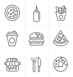 Line Icons Style Fast Food Icons vector image vector image