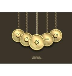 metallic banner locket steampunk steampunk vector image