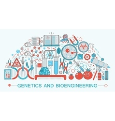 Modern Flat thin Line design biology genetics and vector image vector image