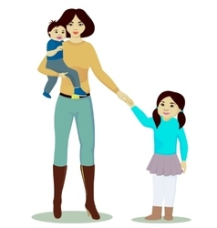 Mother and daughter and baby boy isolated vector