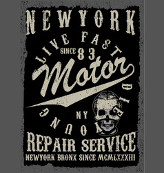 Motorcycle tee graphic design vector