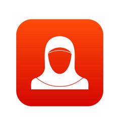 Muslim women wearing hijab icon digital red vector