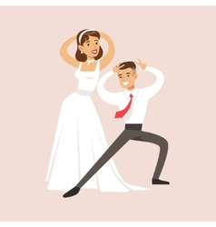 Newlyweds doing pulp fiction dance at the wedding vector