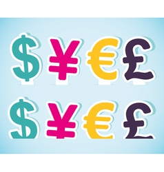 Paper currency signs vector image
