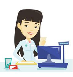 Pharmacist writing prescription vector