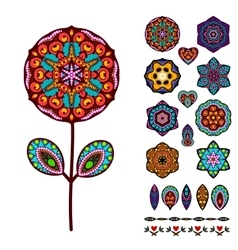 Set of abstract isolated colorful flowers elements vector image