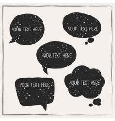 Set of abstract retro grunge speech bubbles vector image