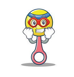 super hero rattle toy character cartoon vector image
