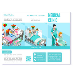 trifold brochure medical clinic clean blue basic vector image vector image