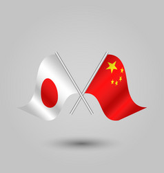 two crossed japanese and chinese flags vector image