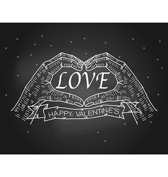 Valentines day hand making heart sign vector