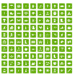100 farm icons set grunge green vector image