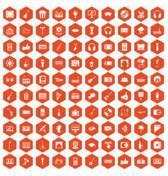 100 karaoke icons hexagon orange vector
