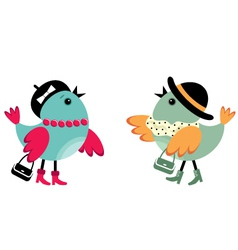 Fashionable birdies vector image