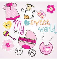 Lovely elements for baby girl vector