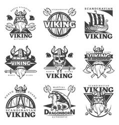Vintage viking label set vector