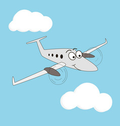 cartoon style smiling airplane vector image