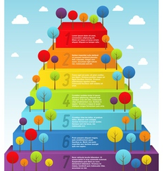 Rainbow pyramid with trees vector