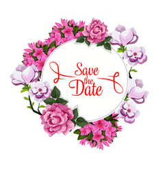 Save date wedding greeting floral template vector