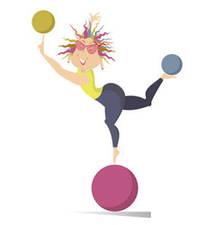 young woman do exercises with the balls isolated vector image