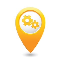 Gear icon yellow map pointer vector