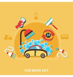 24h car wash composition vector