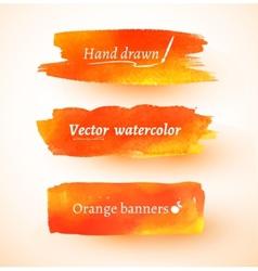 Orange watercolor banners vector
