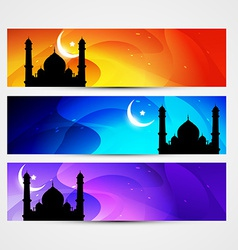 Colorful eid headers vector