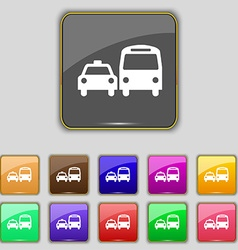 Taxi icon sign set with eleven colored buttons for vector