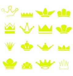 Set of gold crowns silhouettes vector