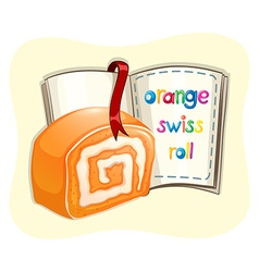 Orange swiss roll and a book vector