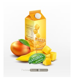 Pack of mango juice with slices and diced mango vector