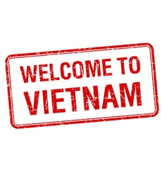Welcome to vietnam red grunge square stamp vector