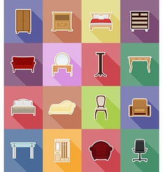 furniture flat icons 38 vector image