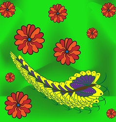 greeting card with butterfly caterpillar and vector image