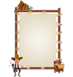 An empty framed banner with a cowboy and a wagon vector image vector image