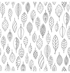 Autumn white and black seamless stylized leaf vector image
