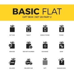 Basic set of Gift box icons vector image vector image