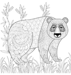 Big panda with bamboo in zentangle tribal style vector
