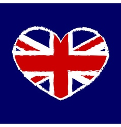 British flag t shirt graphics heart vector image