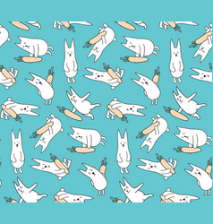 Bunnies with carrots vector