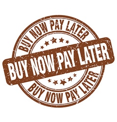 Buy now pay later brown grunge round vintage vector