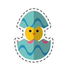 Cartoon cute easter egg chicken vector