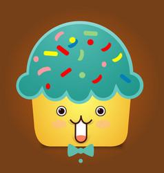 cute cupcake character vector image vector image