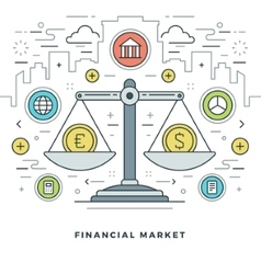 Flat line financial market concept vector